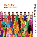 big crowd of indian women... | Shutterstock .eps vector #278979764