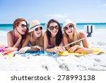 happy friends wearing sun... | Shutterstock . vector #278993138