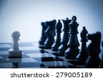 one pawn is staying against a... | Shutterstock . vector #279005189