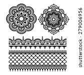 mehndi  indian henna tattoo... | Shutterstock .eps vector #279006956
