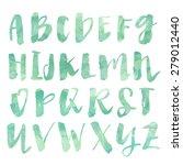 mint green painted alphabet...   Shutterstock . vector #279012440