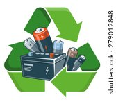 used batteries with green... | Shutterstock .eps vector #279012848