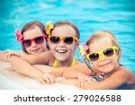happy children in the swimming... | Shutterstock . vector #279026588