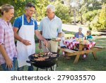happy man doing barbecue for... | Shutterstock . vector #279035570