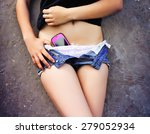girl with a cell phone sticking ... | Shutterstock . vector #279052934