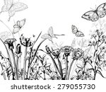 Silhouette Of Herbs And Flower...