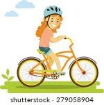happy little girl in helmet... | Shutterstock .eps vector #279058904