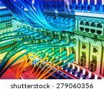 fiber optic cables connected to ... | Shutterstock . vector #279060356