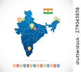 india map with icons | Shutterstock .eps vector #279065858