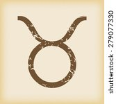 grungy brown icon with taurus...