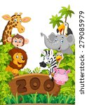 collection of zoo animals | Shutterstock .eps vector #279085979