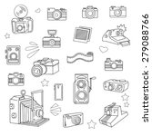 hand drawn photo cameras set ... | Shutterstock .eps vector #279088766