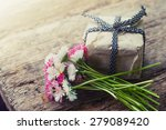flowers and present gift on... | Shutterstock . vector #279089420