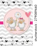 Greeting Card With Two Sheep I...