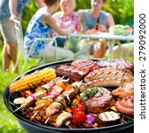 family having a barbecue party... | Shutterstock . vector #279092000