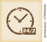 grungy brown icon with clock...