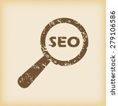grungy brown icon with text seo ...