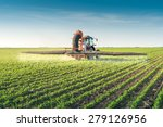 tractor spraying pesticides on... | Shutterstock . vector #279126956
