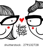 "cute doodle ""in love"" couple in ... 