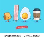 breakfast. funny characters cup ... | Shutterstock .eps vector #279135050