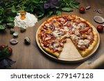 vegetarian pizza on cutting...