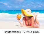 happy young woman in straw hat... | Shutterstock . vector #279151838