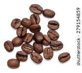 roasted coffee beans isolated... | Shutterstock . vector #279154859