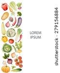 set of watercolor vegetables... | Shutterstock .eps vector #279156884