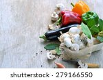 basket with mushrooms and... | Shutterstock . vector #279166550