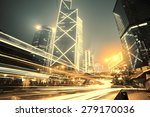 traffic in hong kong at night   Shutterstock . vector #279170036