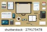businessman desktop with open... | Shutterstock .eps vector #279175478