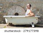 man in retro swimsuit resting...   Shutterstock . vector #279177398