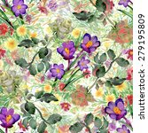 watercolor seamless floral... | Shutterstock .eps vector #279195809