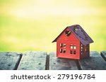 red model of house as symbol on ... | Shutterstock . vector #279196784