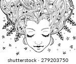Dreaming girl with creatures,vector illustration - stock vector