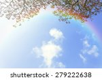 Japanese Cherry And Rainbow In...