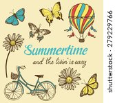 hand drawn summer set. bicycle  ... | Shutterstock .eps vector #279229766