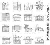 buildings city line icon set | Shutterstock .eps vector #279229874