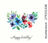 flowers. watercolor birthday...   Shutterstock .eps vector #279231338