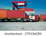 cargo containers at harbor ... | Shutterstock . vector #279234290