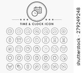 time and clock line icons with...