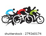 three cyclist racers. colorful... | Shutterstock .eps vector #279260174