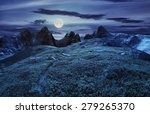 composite landscape with path through hillside meadow with white sharp boulders near cgi mountain peaks at night in full moon light - stock photo