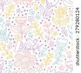 colorful outline floral... | Shutterstock .eps vector #279280124