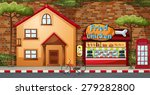 Fastfood Shop And Building By...