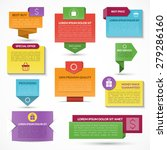 Set of modern colorful vector web elements. Labels, tags, banners. Origami style