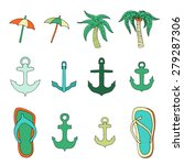 set of objects associated with... | Shutterstock .eps vector #279287306