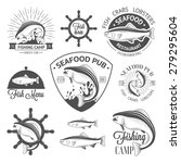 set of vintage fish logos with... | Shutterstock .eps vector #279295604