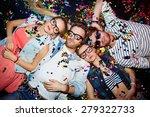 young friends sleeping in... | Shutterstock . vector #279322733
