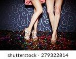 Legs Of Two Girls Dancing In...